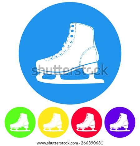 Vector illustration of ice skates  icon on white background. Flat style color. - stock vector