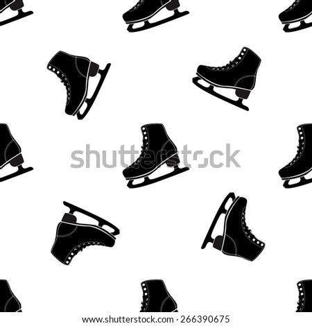 Vector illustration of ice skates  seamless pattern. Black isolated on white background. - stock vector