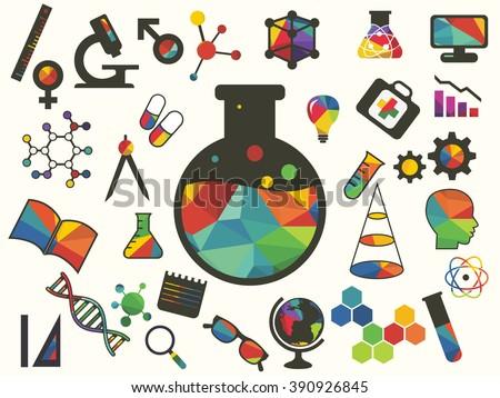 Vector illustration of icon beaker - stock vector