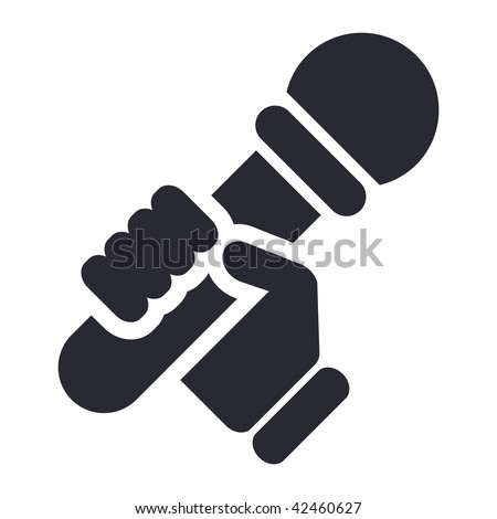 Vector illustration of icon isolated in a modern style, depicting a hand holding a microphone - stock vector