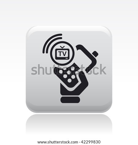 Vector illustration of icon isolated in a modern style, depicting a hand holding a mobile phone with the television symbol