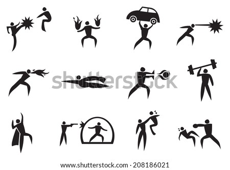 Vector illustration of icon man with different super power. Black and White icon set. - stock vector