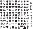 Vector Illustration of 100 Icon Objects with outlines. Everything from holiday to supplies. - stock vector