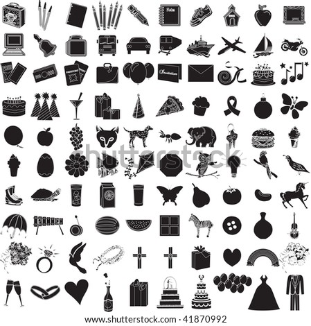 Vector Illustration of 100 Icon Objects with outlines. Everything from holiday to supplies.