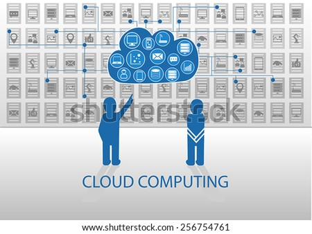 Vector illustration of icon persons for cloud computing. Person explaining cloud computing to another person to answer questions on how it works - stock vector