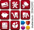 Vector illustration of icon set: e-commerce, and buttons. Only global colors. CMYK. Easy color changes. - stock vector