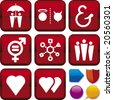 Vector illustration of icon set: relationship and buttons. Only global colors. CMYK. Easy color changes. - stock photo