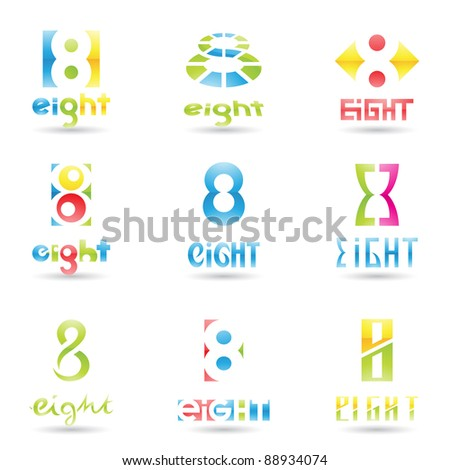 Vector illustration of Icons for number eight isolated on white background - stock vector