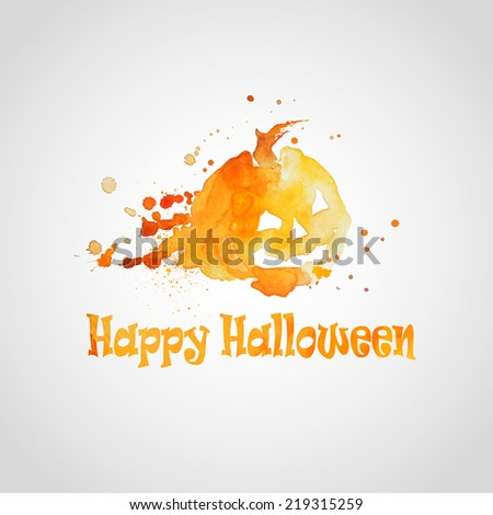 vector illustration of icons of Halloween with the effect watercolor - stock vector