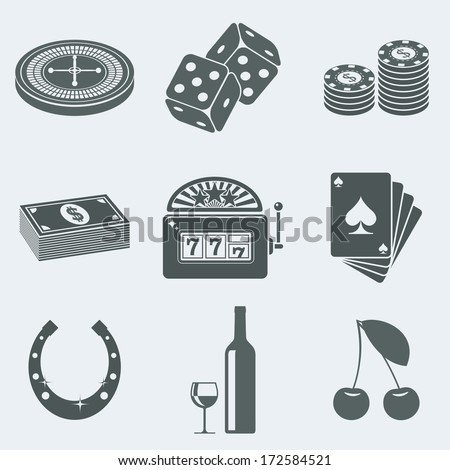 Vector illustration of icons on a theme of gambling - stock vector