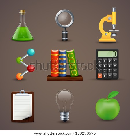 Vector illustration of icons on a theme of science - stock vector