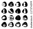 Vector illustration of icons on the subject of sewing - stock vector