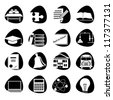 Vector illustration of icons on the topic of school - stock vector