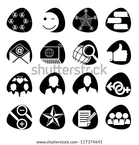 Vector illustration of icons on the topic of social networks