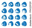 Vector illustration of icons on the topic of tourism - stock vector