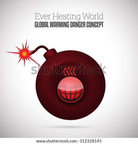 Vector illustration of ignited time bomb with heating up world symbol. - stock vector