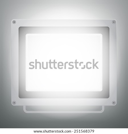 Vector illustration of illuminated LED spotlight or glowing floodlight - stock vector