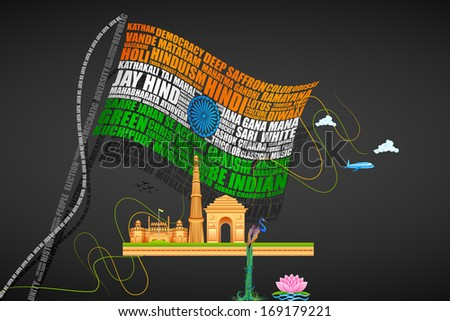 vector illustration of India Background with Monuments - stock vector