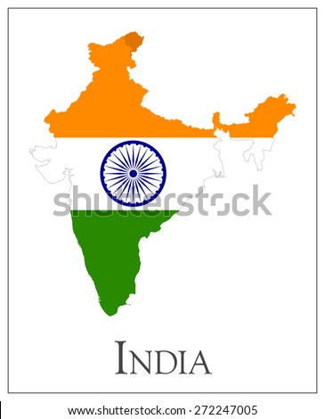Vector illustration of India flag map. - stock vector
