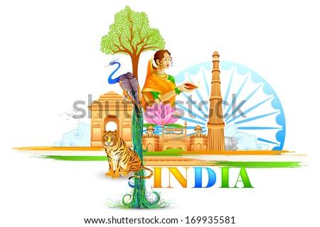 vector illustration of India Wallpaper - stock vector