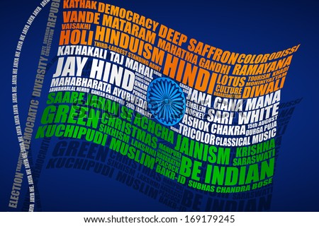 vector illustration of Indian Flag in typography style - stock vector
