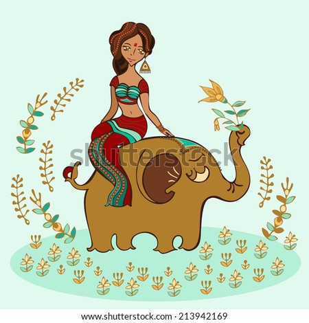 Vector illustration of indian girl sitting on an elephant