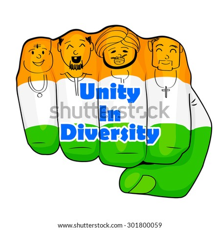 vector illustration of Indian people of different culture standing together, Unity in Diversity - stock vector