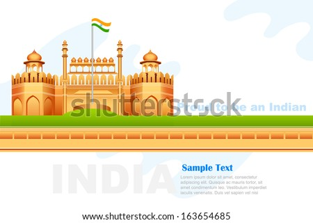 vector illustration of Indian tricolor on Red Fort in India - stock vector