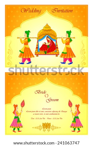 Vector illustration indian wedding invitation card stock vector vector illustration of indian wedding invitation card junglespirit Gallery