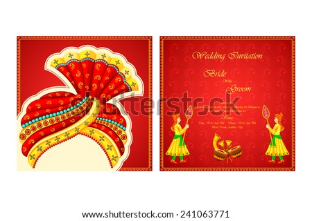 vector illustration of Indian wedding invitation card - stock vector