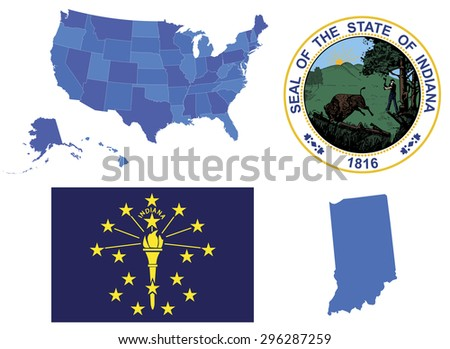 Vector Illustration of Indiana state, contains: High detailed map of USA High detailed flag of state Indiana High detailed great seal of state indiana State Indiana, shape - stock vector