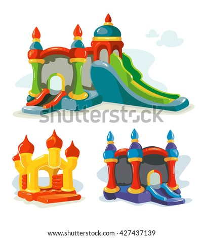 Vector illustration of inflatable castles and children hills on playground. Pictures isolate on white background - stock vector