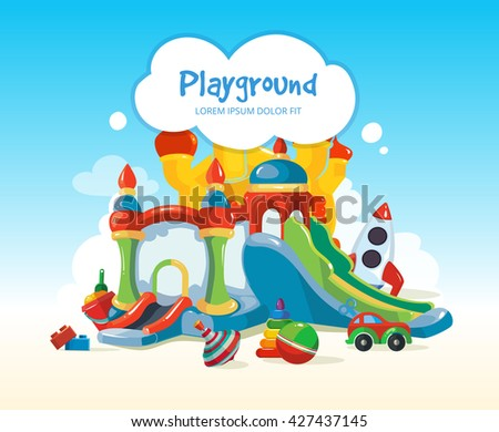 Vector illustration of inflatable castles, children hills, toys on playground. - stock vector