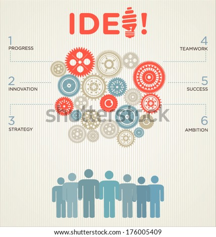 Vector Illustration of infographic design template with gear - stock vector