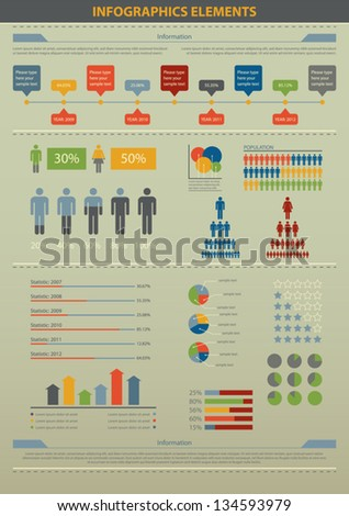 Vector illustration of infographic element and statistic about demographic. - stock vector