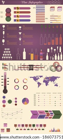 vector illustration of infographic elements concerning to winemaking themes - stock vector