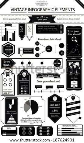 Vector illustration of infographic in vintage style with 10 icons, 1 world map and 5 different kinds of diagram. Altogether file contains 17 groups of  elements - stock vector
