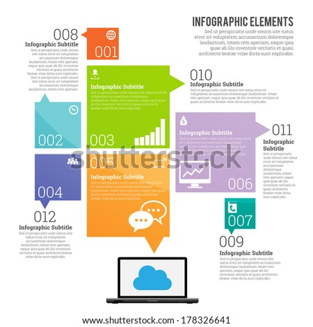 Vector illustration of information technology theme infographic elements. - stock vector