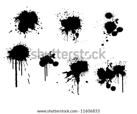 vector illustration of ink splatter on white - stock vector