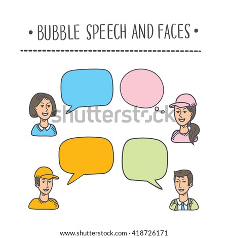 Vector illustration of interactive multicolored bubbles in illustration and avatars of people - stock vector