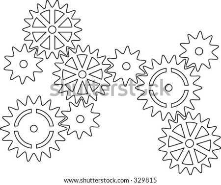 Vector illustration of interconnecting cogs - stock vector