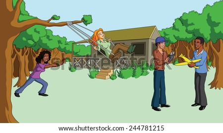 Vector illustration of interracial couples spending the weekend at a cottage in the woods. - stock vector