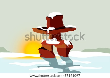 Vector illustration of Inuit Inukshuk used as landmarks to communicate and navigate in the Arctic Circle - stock vector