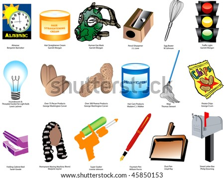 Vector Illustration of Inventions and Inventors for black history month. Also available without names. - stock vector