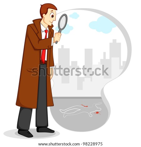 vector illustration of investigating detective with magnifying glass investigating - stock vector