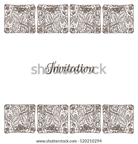 Vector illustration invitation template medieval engraving stock vector illustration of invitation template with medieval engraving style frame grapes and leaves in tiles stopboris