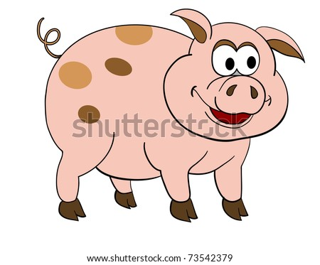 vector illustration of isolated cartoon pig - stock vector