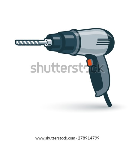 Vector illustration of isolated hand drill drilling machine in cartoon style.