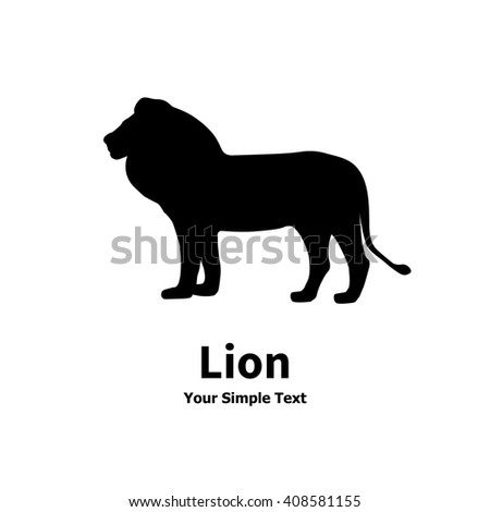Vector illustration of isolated lion silhouette on a white background. - stock vector