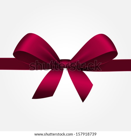 Vector Illustration of Isolated Red Gift Bow with Ribbon - stock vector